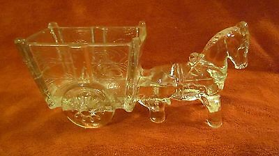 Vintage Glass Horse & wagon Candy Container