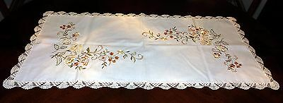 "Vintage Embroidered Table Runner with Crochet Edging, 17"" x 34"""