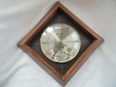 """Vintage Airguide Weather Station Hygrometer Thermometer Barometer 11"""" Square"""