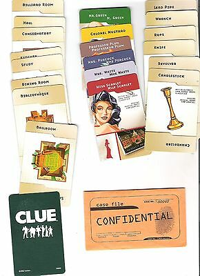 Clue Game Pieces - replacement set of 21 game cards - standard edition