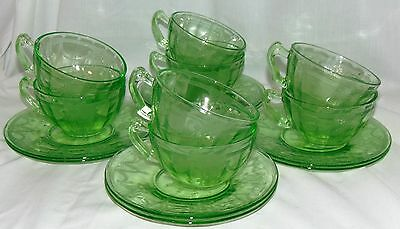 8 Anchor Hocking CAMEO/BALLERINA GREEN *FANCY HANDLE CUPS & SAUCERS*