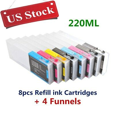 US Stock - 8pcs 300ml Epson Stylus Pro 4800 Refill Ink Cartridges with 4 Funnels