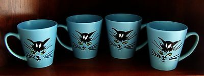 Set Of 4 Hand Painted Cat Coffee Mugs