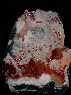 RED Apophylite Crystals on White Chalcedony Base with Stilbite..