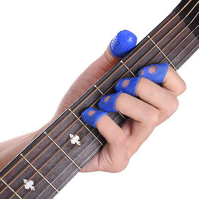 12pcs silicone rubber guitar finger guards fingertip thumb picks protectors band cad. Black Bedroom Furniture Sets. Home Design Ideas