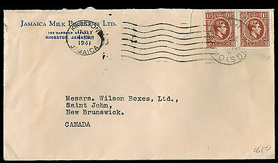 Jamaica 1941 Multi Franked Commercial Cover**kingston To New Brunswick, Canada