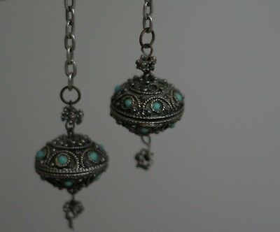 """Vintage Lariat """"Necklace"""" Turquoise Blue Stone Silver Tone Middle Eastern??"""