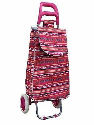 grocery folding shopping cart with bag carry on color ( pink multi color )
