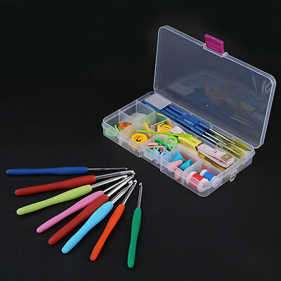 16 Sizes Crochet Hooks Needles Stitches Knitting Case Crochet Set W/ Case HH#