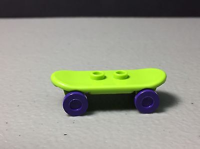 New LEGO Skateboard - Lime with Purple Wheels - Minifigure Skateboard Authentic