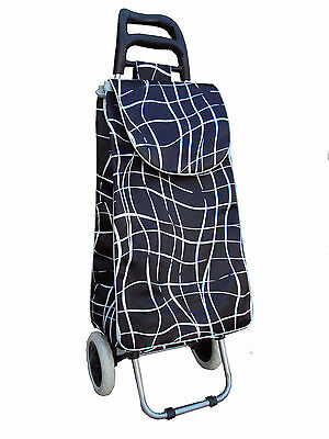 grocery folding shopping cart with bag carry on color ( black & white line )