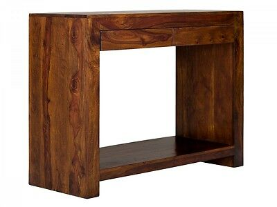 TABLE CONSOLE 2 tiroirs 116x45 palissandre BOIS MASSIF - meuble salon Country II