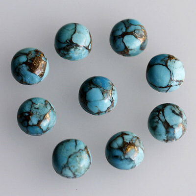 8MM Round Shape, Blue Copper Turquoise Calibrated Cabochons AG-233