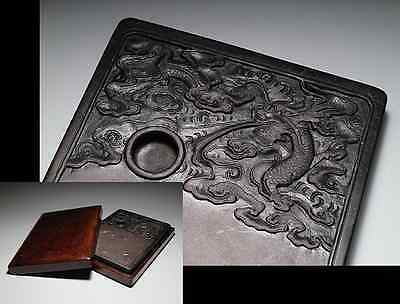 Chinese OLD INK STONE [ Dragon in cloud ] / W 15.5× D21.3 × H 2.5 [cm] 3.07kg