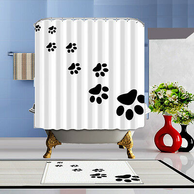 Cat's Paw Prints Waterproof Fabric Home Decor Shower Curtain Bathroom Mat