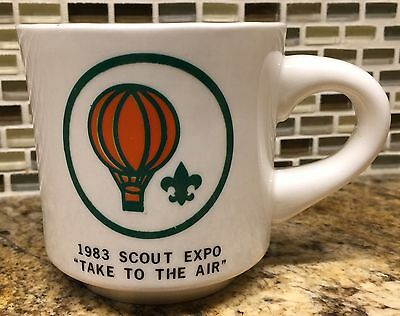 Vintage 1983 Scout Expo Take To The Air Boy Scout BSA Hot Air Balloon Coffee Mug