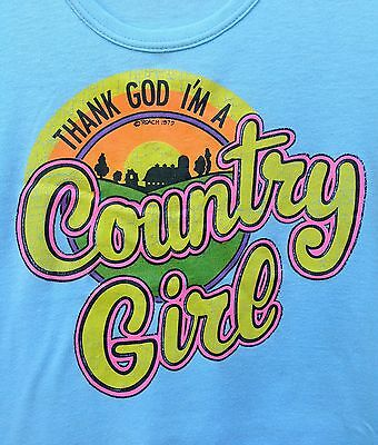 CLASSIC! Vtg 1975 THANK GOD I'M A COUNTRY GIRL Iron On ROACH T Shirt S/M 70s 80s