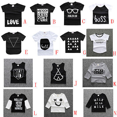 Cotton Tops Baby Boys Girls Summer Tee Shirt Blouse Toddler Printed Vest shirts