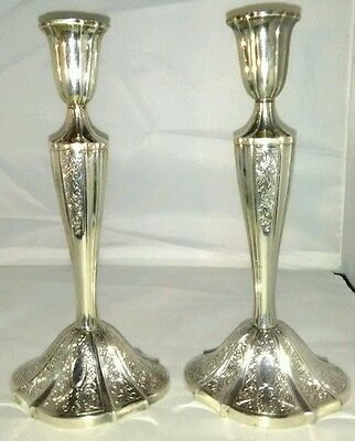 """Vintage Towle Silversmiths Silver Plated Candlestick Holders  9"""" Tall (E)"""