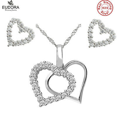 S925 Sterling Silver Heart Necklace Earings Jewelry Set Fashion Cryastal Pendant