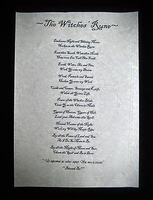 The Witches Rune Wiccan Leaflet Wicca  Pagan witchcraft  Poster A4
