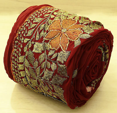 Vintage Indian Sari Border Embroidered Sewing 1YD Trim Wrap Lace Red Used Ribbon