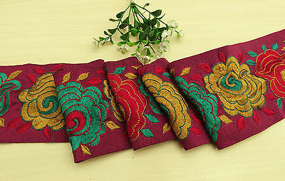 Vintage Indian Sari Border Embroidered 1YD Sewing Used Magenta Trim Ribbon Lace