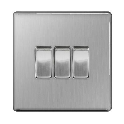 SAXBY Brushed Steel Screwless 10A 3 Gang 2 Way Light Switch