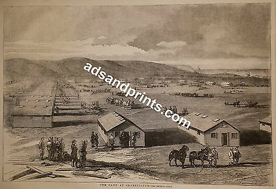 Crimean War - Shorncliffe Army Camp near Dover 19th Century Military Print 1855