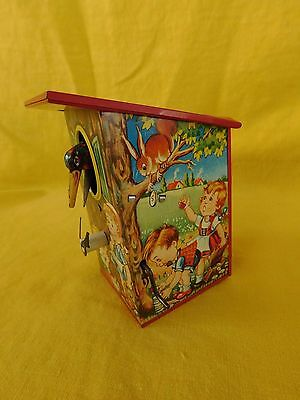 Vintage DBP Germany Mechanical Coin Bank WOODPECKER Birdhouse (TIN) c. 1960's