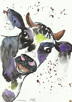 "Fridge Magnet Quirky Cow large  4.25"" by 5.5"" By Casimira Mostyn"