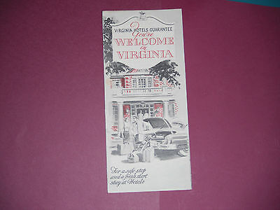 1950's Virginia Hotels Welcome Brochure Pamphlet Map