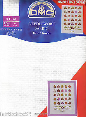 DMC 16 Count Aida For Cross Stitch White Large