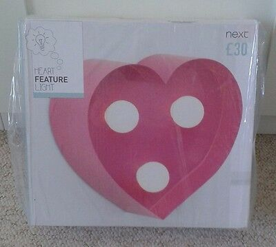 Next Girls Pink Heart Feature LED Wall Light / Nightlight **FREE DELIVERY**