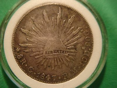 "1847-Go Mexico Republica Mexicana ""First Republic"" 8 Reales Silver Libertad Coin"