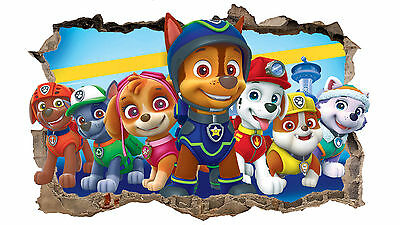Paw Patrol Smashed Wall Sticker 3D Boys Girls Vinyl Wall Art Decal