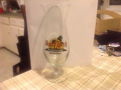 "Very Rare Hard Rock Cafe HRC 9 1/4"" Hurricane Recipe Glass Montreal Closed"