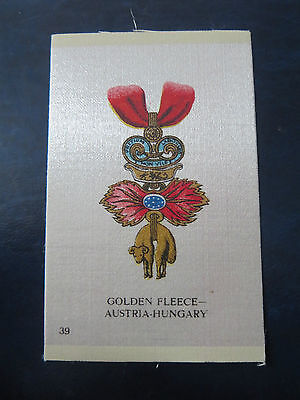"""Imperial Tobacco/cigarette Silks 1913  """"orders/military Medals""""  #39 Hungary"""