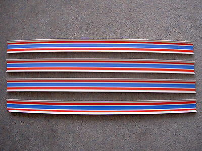Vintage Matchbox Superfast Track Lengths x 4, White, blue and red stripes, 1970s