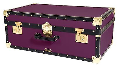 PURPLE Traditional British Mossman Made Vintage Attache Luggage Storage Trunk
