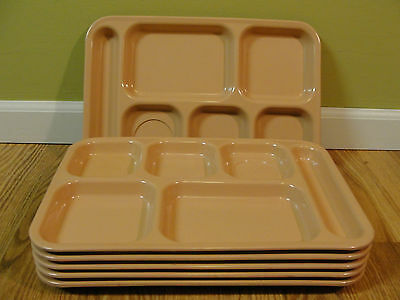 Lot Of 6 Dallas Ware 6 Compartment Cafeteria Lunch TV Food Tray Mint Peach  P-71