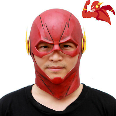 Movie The Flash Allen Red Latex Mask Halloween Cosplay Party Full Head Masks