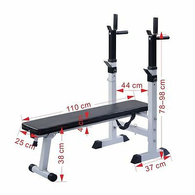 Folding Weight Lifting Bench With Dip Station Flat Chest Press Home Multi Gym