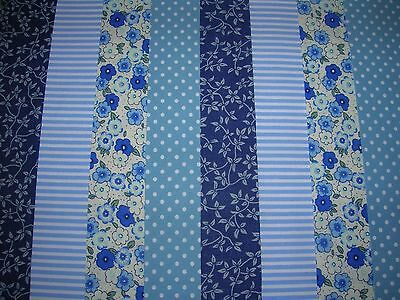 """8 Jelly Roll Strips Blue   44"""" X 2.5""""  100% Cotton Patchwork/quilting/craft Eub"""