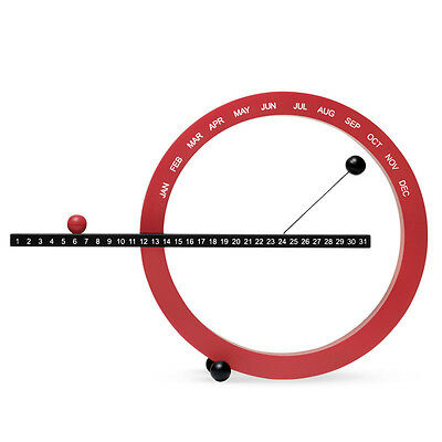 New Contemporary Modern MOMA Dagan Magnetic Red Black Perpetual Desk Calendar