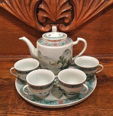 Vintage Chinese Porcelain Tea Pot Set with Tray Mountain Temple Boat Scene *EUC
