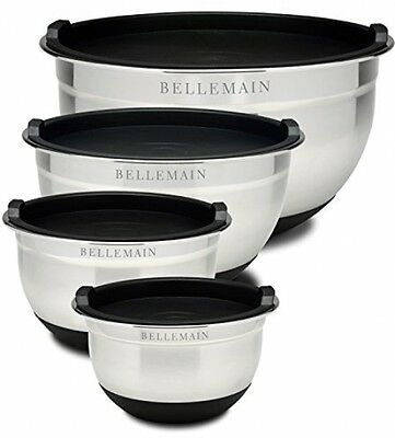 For Home And Kitchen Stainless Steel Non-Slip Mixing Bowls Lids 4 Piece Set