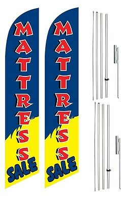 Windless Swooper Flag Kit Twin Pack MATTRESS SALE Red Blue Yellow White