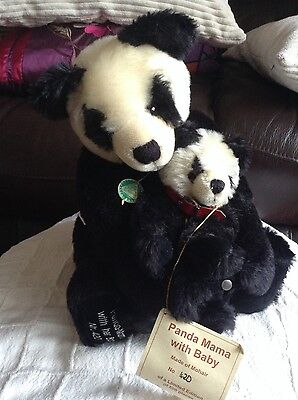 Hermann Spielwaren panda mama and baby teddy, retired