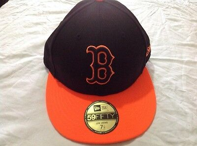 Men's Black/flame Orange Boston Red Sox Low Crown Pop 59fifty Fitted Hat - New